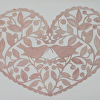 "Valentine Birds by Susan Parmenter hand cut paper ~ 5"" x 7"""