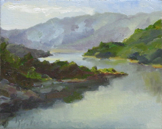 Lake Casitas, Early Morning by Keene Wilson Oil ~ 8 x 10