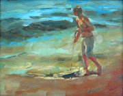 Boogie Board Surf by Keene Wilson Oil ~ 14 x 11