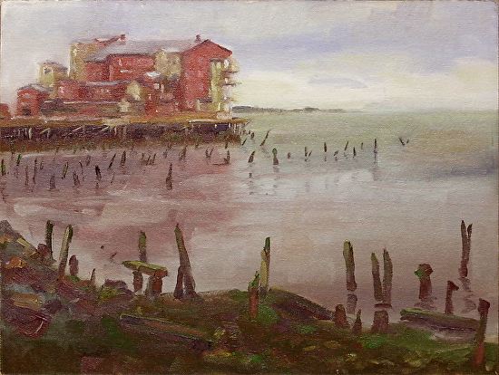 Astoria Pier Hotel by Keene Wilson Oil ~ 12 x 16