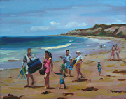 Beach Gathering of Laguna by Keene Wilson Oil ~ 16 x 20