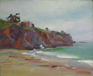 El Moro Cove, Overcast, Noon by Keene Wilson Oil ~ 10 x 12