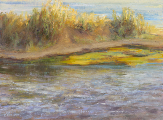 Mid-Morning; Island in the River - Oil