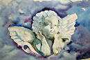 "Angel by Diane Wallace Watercolor ~ 5 1/4"" x 8 1/2"""