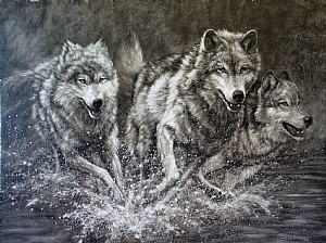 Wolves in Pursuit by Charles Ewing India Ink on Claybord ~ 30 x 40
