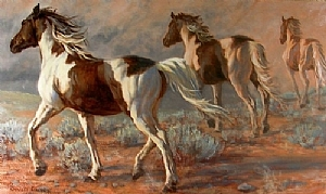 One Horse Trotting by Charles Ewing Oil ~ 24 x 40