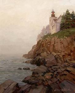 "Bass Harbor Head Light by Lawrence Churski  ~ 20"" x 16"""