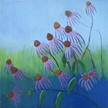 "Coneflowers by Mary Murphy Oil ~ 18"" x 18"""