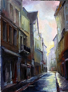 Morning Rain La Rachelle by Michael Maczuga Oil ~ 16 x 12