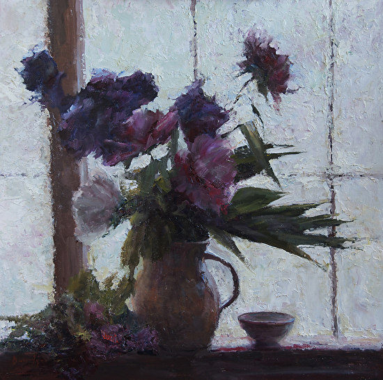 Iris & Peonies in the Window -