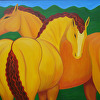 two yellow horses