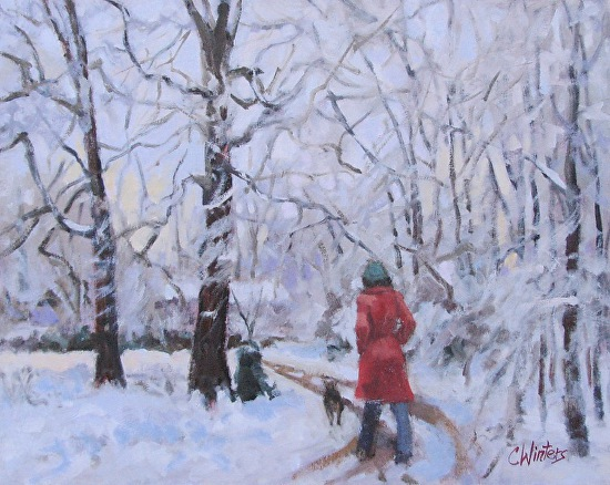 Red Coat on a Snowy Day - Oil