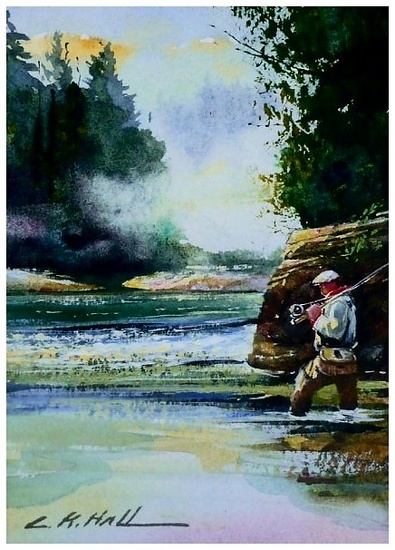 """Reading the Water - Watercolor"