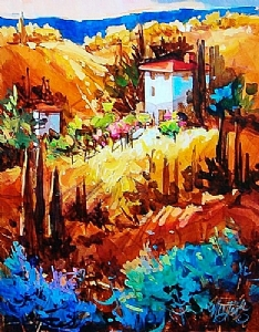 Tuscan Vista #2 by Nancy O'Toole Acrylic ~ 13 x 10