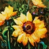 "Floral Sunshine by Nancy O'Toole Acrylic ~ 8"" x 8"""