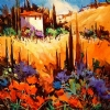 "POPPY TIME IN TUSCANY by Nancy O'Toole Acrylic ~ 14"" x 14"""