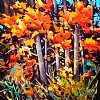 "Autumn Leaves of Red & Gold by Nancy O'Toole Acrylic ~ 16"" x 16"""