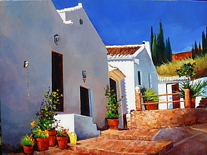 "ARTISTS RETREAT, ANDALUCIA SPAIN by Nancy O'Toole Acrylic ~ 30"" x 40"""