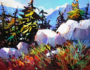 "In The Mountain greenery.. by Nancy O'Toole Acrylic ~ 11"" x 14"""
