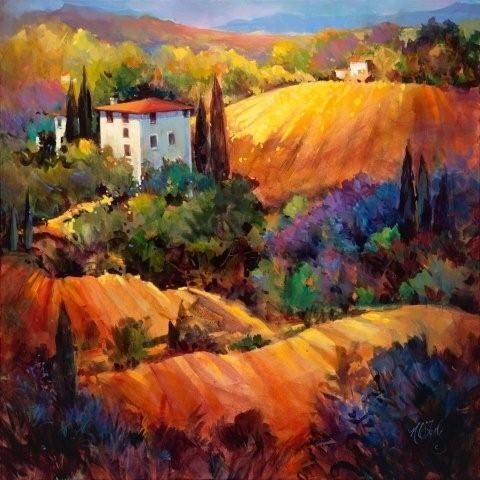 Evening Glow Tuscany - Oil