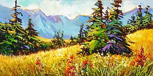 "Whistler Mountain Meadow by Nancy O'Toole Acrylic ~ 10"" x 20"""