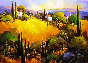 "SUMMER EVENING IN TUSCANY by Nancy O'Toole Acrylic ~ 19 5/8"" x 27.5"""