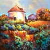 Medieval Herb Garden & Pigeonaire at Bazoge France by Nancy O'Toole Acrylic ~ 24 x 24
