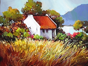 "THE LITTLE COTTAGE at the END OF THE BOREEN(Lane) by Nancy O'Toole Acrylic ~ 12"" x 16"""