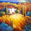 Golden Hills of Tuscany by Nancy O'Toole Acrylic ~ 16 x 16