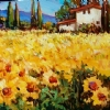 Tuscan Summer Field  (Sunflowers) by Nancy O'Toole Acrylic ~ 10 x 14