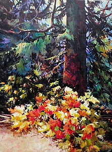 October Foliage Wstcoast B.C. by Nancy O'Toole Oil ~ 40 x -