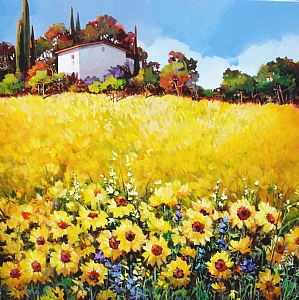 "TUSCAN SUMMER MEADOW by Nancy O'Toole Acrylic ~ 48"" x 48"""
