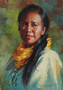 Lakota Woman by Jim Clements Oil ~ 7 x 5