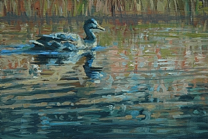 Duck Scene by Jim Clements Oil ~ 4 x 5
