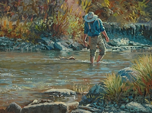 Swimming Lessons by Jim Clements Oil ~ 9 x 12