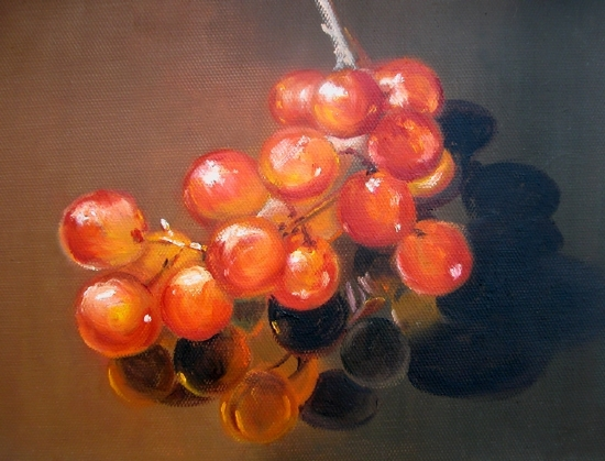 "The Wrath of Grapes by Diane Morgan Oil ~ 5-3/4"" x 8"""