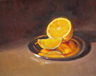Orange on a silver plate by Sandra Corpora Oil ~ 8 x 10