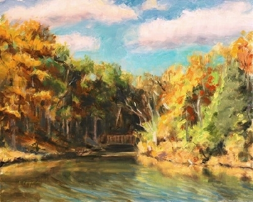 Pond Cove, October by Sandra Corpora Oil ~ 8 x 10