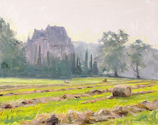 Summer Morning Chateau Pitray - Oil