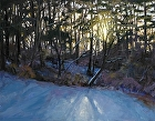 Winter sunset, Lehigh Parkway by Sandra Corpora Oil ~ 14 x 18