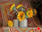 Sunflowers on an antique rug by Sandra Corpora Oil ~ 14 x 18