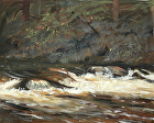 Fall Water Mud Run by Sandra Corpora Oil ~ 8 x 10