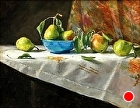 Seckel Pears with Blue Bowl by Sandra Corpora Oil ~ 14 x 18