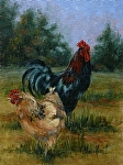 Happy Couple, Rooster & Hen by Marie Merritt Oil ~ 14 x 11