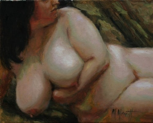 Rubenesque Woman by Marie Merritt Oil ~ 10 x 8