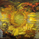 "Deconstructed Sunflower by Elizabeth Torak Oil ~ 16"" x 16"""