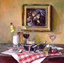 Nightclub Table by Elizabeth Torak Oil ~ 30 x 30
