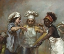 detail of The Feast of Venus - Three Cooks by Elizabeth Torak Oil ~  x