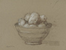 Bowl of Peeled Potatoes by Elizabeth Torak charcoal and conte ~ 9 1/2 x 12 1/4""