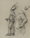 Chef Holding Hose by Elizabeth Torak charcoal and white chalk ~ 22 3/4 x 18 1/2